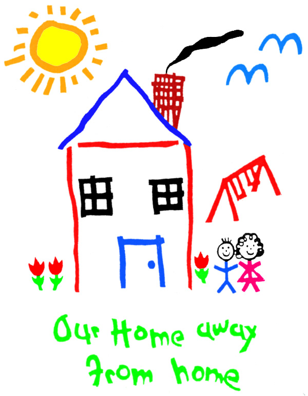 "Child's preschool drawing - ""Our home away from home"""