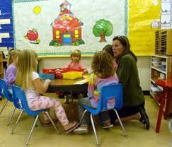 Preschool children in group learning activity